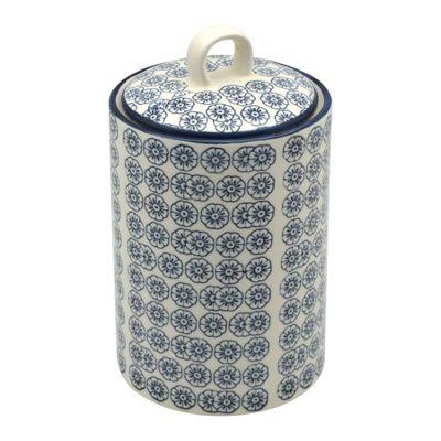 Nicola Spring Patterned Porcelain Tea / Coffee / Sugar Canister - Blue Flower Print Design
