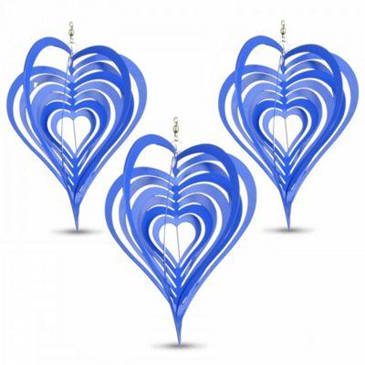Set of Three Blue Heart Shaped Steel Garden Windspinners