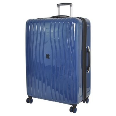 Buy IT Luggage Gloss 8 wheel Hard Shell Poseidon Blue Large ...