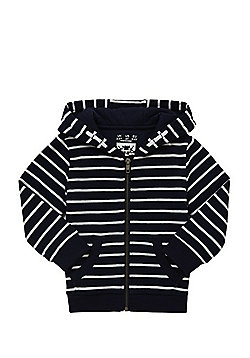 F&F Striped Zip-Through Hoodie - Navy & White