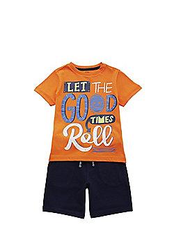F&F Good Times Slogan T-Shirt and Shorts Set - Multi