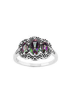 Gemondo Sterling Silver 1.3ct Mystic Green Topaz & Marcasite Ring