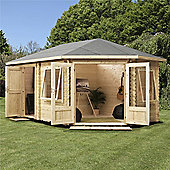 5m x 3m (17ft x 10ft) Sutton Corner Plus Log Cabin (Double Glazing) 44mm **Right Entrance Door Garden Cabin - Fast Delivery - Pick A Day
