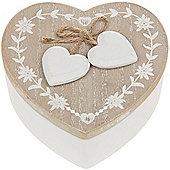 Rustic French - Wood Heart Shaped Storage / Trinket / Jewellery Box - Brown / White