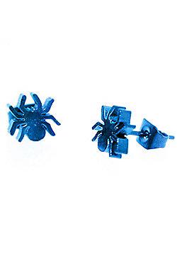 Urban Male Electric Blue Stainless Steel Men's Spider Design Stud Earrings 7mm