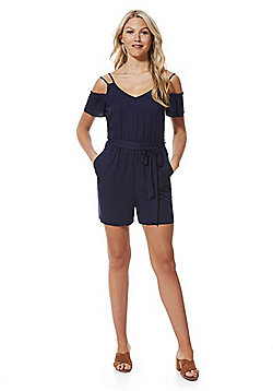 F&F Cold Shoulder Playsuit - Navy