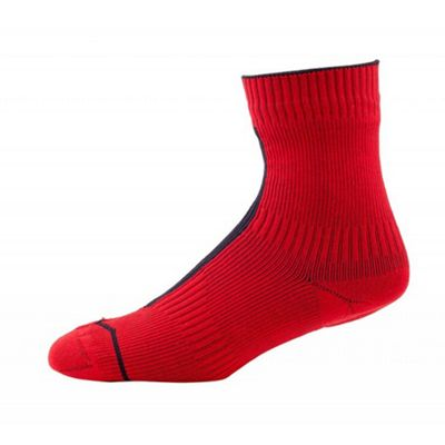 SealSkinz Road Thin Ankle Sock with Hydrostop Red/Black Size: L