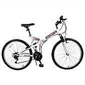 "Stowabike 26"" Mtb V2 Folding Dual Suspension 18Sp Gears Mountain Bike White"