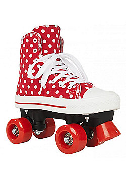 Rookie Quad Roller Skates - Canvas High Polka Dot Red/White - Red