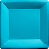 Turquoise Square Plates - 26cm Paper Party Plates - 20 Pack