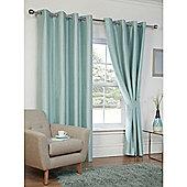 Hamilton McBride Faux Silk Eyelet Blackout Duck Egg Curtains - 90x90 Inches (229x229cm)