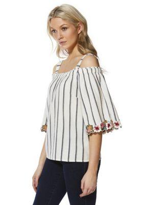 F&F Floral Trim Striped Cold Shoulder Top White/Multi 22