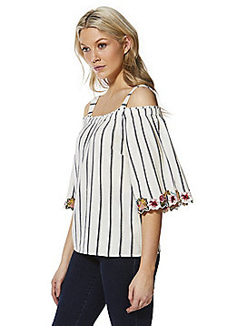F&F Floral Trim Striped Cold Shoulder Top - White/Multi