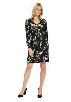 Wallis Bird Print Tea Dress 16 Black