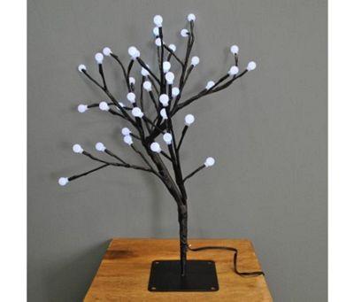 45cm White Cotton Ball Tree 40 LED (Battery)