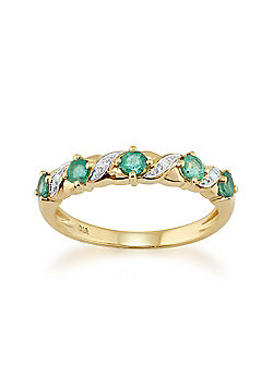 Gemondo Emerald Ring, 9ct Yellow Gold 0.44ct Natural Emerald & Diamond Half Eternity Ring