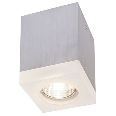 Tigla Square Downlight Aluminium Brushed Max. 50W With Stained Acrylic Cover