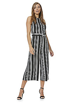 F&F Striped Culotte Jumpsuit - Black/White