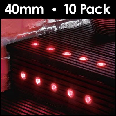 MiniSun Pack of 10 40mm Red LED Decking Lights