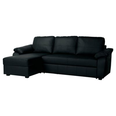 Ashmore Leather Corner Chaise Sofa Bed Black Left Hand Facing