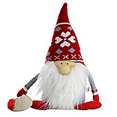 30cm Fabric Father Christmas Gnome Doorstop with Sack