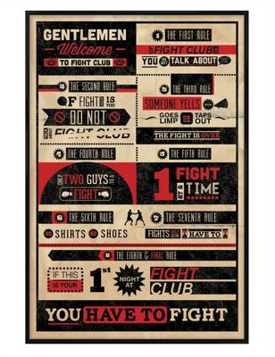 Gloss Black Framed The Rules Of Fight Club Poster