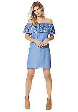F&F Embroidered Bardot Dress - Blue & Multi