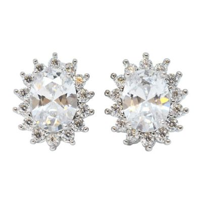 Traditional Oval Silver Plated Clear Cubic Zirconia Stud Earrings