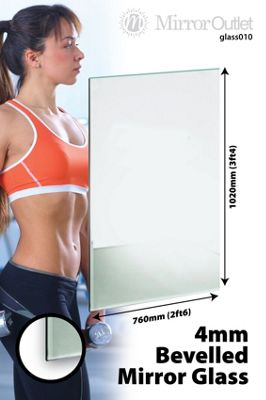 Frameless Mirror Glass Home Gym Or Bathroom 4Mm Thick 3Ft4 X 2Ft6, 102Cm X 76Cm