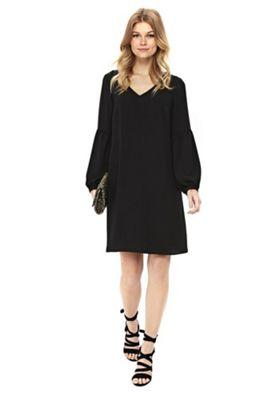 Wallis Petite Balloon Sleeve Dress Black 14
