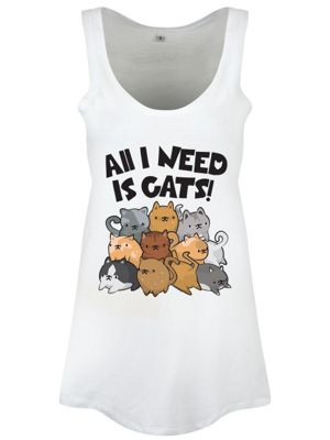 All I Need Is Cats Floaty White Women's Vest