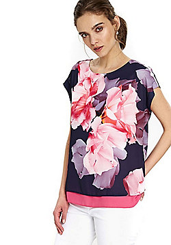 Wallis Floral Woven Double Layer Top - Multi