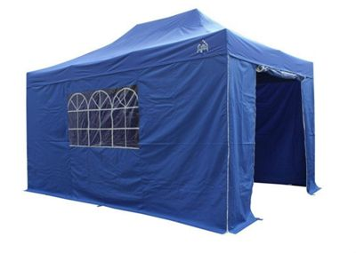 All Seasons Gazebos, Heavy Duty, Fully Waterproof, 3m x 4.5m Superior Pop up Gazebo Package in Royal Blue