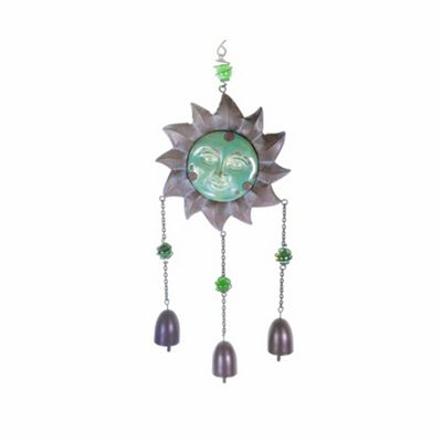 Hanging Metal & Ceramic Sun Face Garden Wind Chime