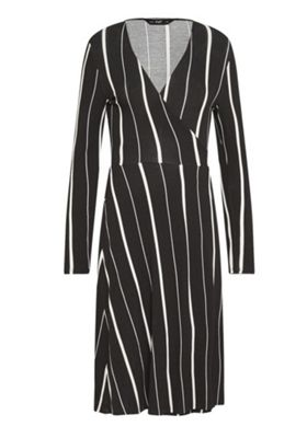 F&F Striped Wrap Dress Black/White 22