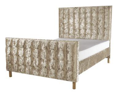 Snug City Cream Single Upholstered Bed Frame, Grande High Foot End Design Made In the UK