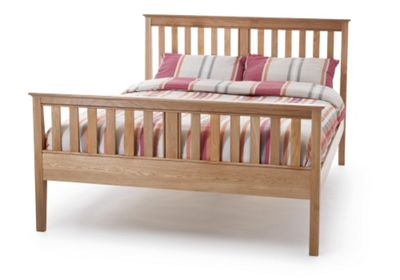 Wiltshire Oak Bed Frame Slatted Bedstead - 4'6 Double Bed - High Foot End