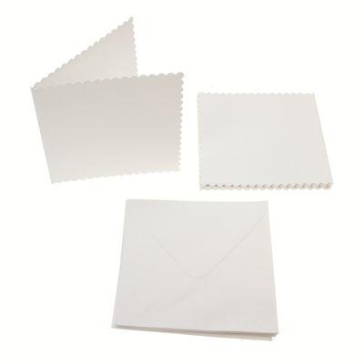 Square Scalloped Card Blanks 300gsm 12Pk - White