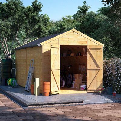 16x8 Tongue and Groove Wooden Workshop Garden Shed Double Door Windowless Apex Premium Roof Floor Felt - 16ftx8ft