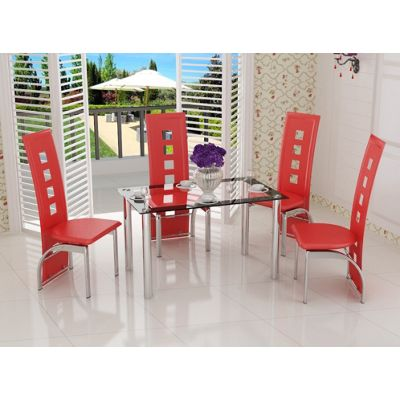 Red Contemporary Dining Table & 4 Chairs