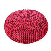 EHC Braided Hand Knitted Round Foot Stool Pouffe, Red