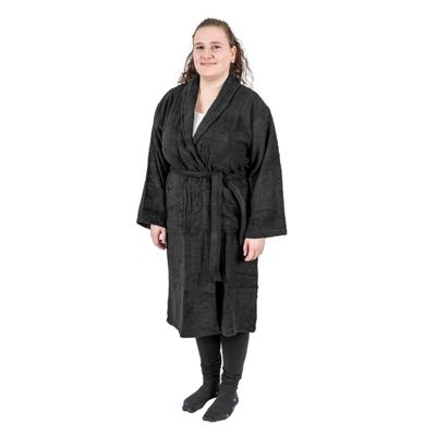Homescapes Black 100% Egyptian Combed Cotton Adults Bathrobe with Shawl Collar, XXL
