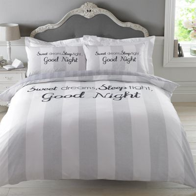Dreamscene Duvet Cover Set, Sweet Dreams Grey - Single