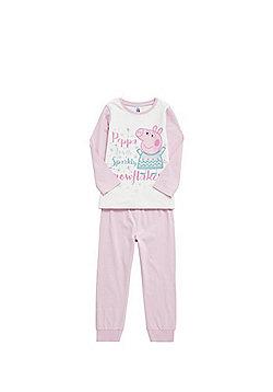 Peppa Pig Snowflake Slogan Pyjamas - White & Pink