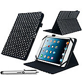 Navitech 7.9 inch Black & White Polka Dots Case / Cover With 360 Rotational Stand for the Apple iPad Mini 1 / 2 / 3 / 4 (fits all gens)