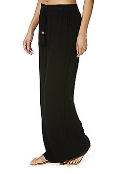 F&F Crinkle Wide Leg Beach Trousers - Black