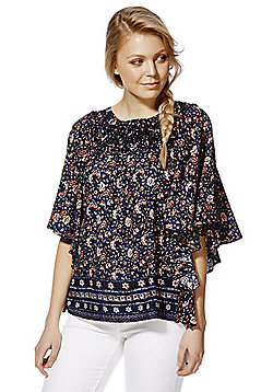 Only Floral Print Embroidered Yoke Flutter Sleeve Top - Navy