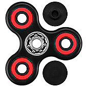 Black & Red Hand Spinner Fidget Finger Toy ADHD Stress Relief