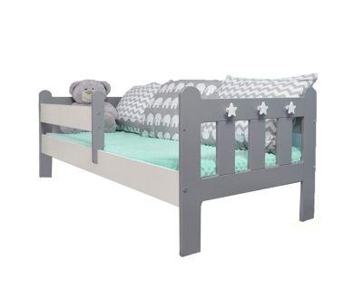 Stanley Toddler/Junior Bed Grey & White / Pocket Sprung Mattress/Quilted Topper.