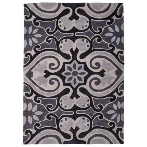 Tesco Ethnic Rug Black/White 120X170Cm
